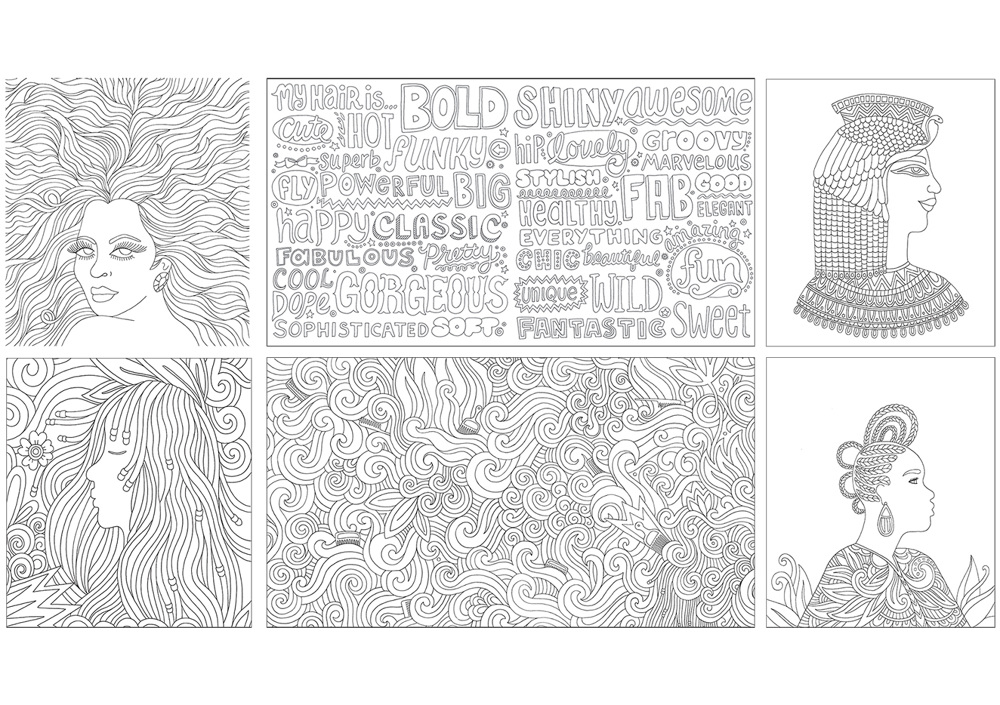 An Adult Coloring Book That Celebrates Hair Through Fun Lettering Hairstyles And Accessories I Love My Is Available For Purchase Here