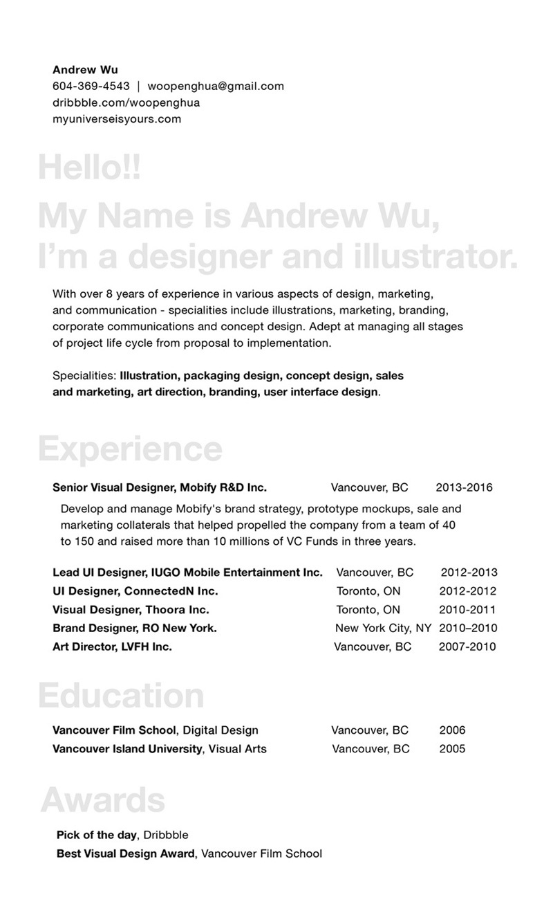 cv myuniverseisyours works by andrew wu ui ux design
